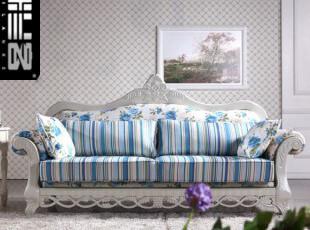 蓝色玫瑰沙发 布衣田园沙发多人组合沙发 客厅 转角 纯实木 雕刻,沙发,