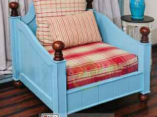 比邻乡村 地中海风格实木沙发 美克美家实木定制家具沙发做旧,沙发,