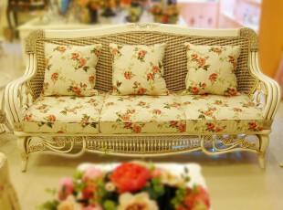 安然之家藤椅藤编家具藤椅沙发 藤沙发厂家直销 田园白色沙发三位,沙发,