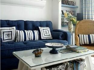 专业定制 纯色蓝色地中海 田园乡村风 客厅布艺双人/三人位沙发,沙发,