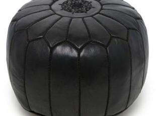 简单的奢华 美国代购包邮 上流最爱摩洛哥手工真皮刺绣沙发凳 黑,沙发,