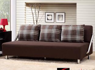 折叠多功能沙发床 简约时尚布艺 格子 咖啡色 特价包邮 全拆洗,沙发,