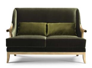 爱家主场 布艺 新古典沙发 欧式双人沙发 定制家具 实木 墨绿,沙发,