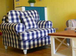 东居 地中海沙发 田园 简欧布艺沙发 单人沙发三人沙发组合包邮,沙发,