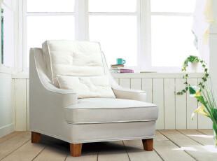 2012北欧简约纯色田园地中海美式纯白色棉麻布艺单人沙发可定制,沙发,