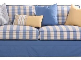 粤鑫家居  新品 纯美 混搭 格子布 客厅组合 纯蓝 宜家 北欧沙发,沙发,