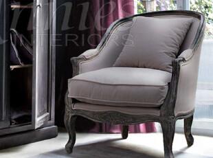 出口法国艾罗拉贵族气质橡木雕花扶手椅沙发椅单人沙发现货,沙发,