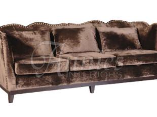 出口法国伊苏丹波浪边铜铆钉丝绒巧克力色羽绒三人位沙发现货,沙发,
