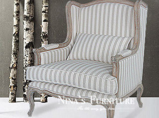 Nina出口法国家具 超美仿古单人条纹沙发 扶手椅 现货,沙发,