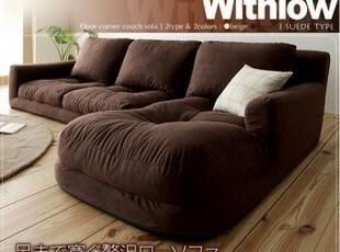 日式榻榻米地板沙发 三人座布艺沙发 懒人转角沙发 带贵妃椅沙发,沙发,