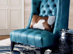 【天猫原创】奥汀堡美式 真皮休闲沙发椅AS5168(不满减不包物流),沙发,