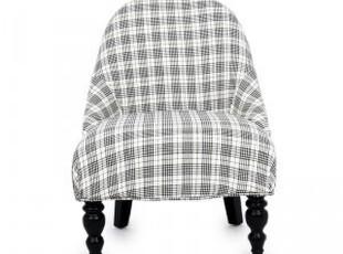 麦克维德 欧式英伦简约 千鸟格布艺靠背椅 单人沙发椅 江浙沪包邮,沙发,
