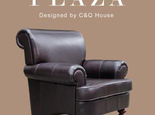 淘家具:高档美式单人别墅沙发 全头层真牛皮办公沙发 父亲节特价,沙发,