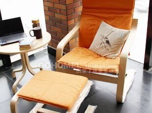 宜家布艺单人沙发实木沙发休闲沙发椅时尚小户型沙发(杏黄),沙发,
