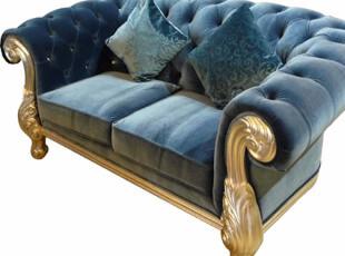 尹美家具 欧式新古典沙发金银箔 布艺真皮 客厅实木沙发组合|119,沙发,
