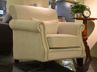 【诺美家】美式简约 田园风格布艺沙发 铆钉圆扶手布艺沙发单人位,沙发,