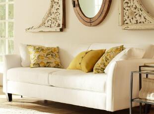 【诺美家】美式简约 小款布艺沙发 弧形扶手可拆洗布艺沙发三人位,沙发,