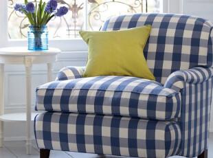 东居 特价 地中海沙发 北欧宜家简约风格 单人沙发 藏蓝 格子沙发,沙发,
