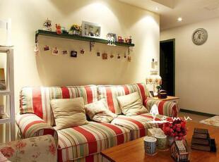 地中海沙发 阳光彩条 布艺沙发 组合沙发 三人沙发 实物拍摄!01,沙发,