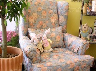 秒杀【7.9折】包邮 高品质田园花朵欧式老虎椅 单人布艺沙发 B款,沙发,