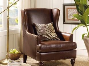 (仿Harbor House家具ESO055)Whitman单人真皮沙发/美式沙发,沙发,
