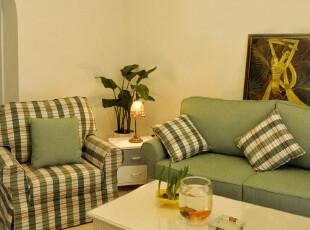 年中大促艾米尼奥韩式田园l绿色格子客厅布艺组合沙发D201-3+1,沙发,