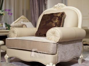 为家居 法式家具 客厅沙发 皮+布沙发 欧式白色沙发 沙发组合,沙发,