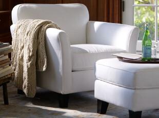 宜家美式简约 地中海小款布艺沙发 弧形扶手可拆洗布艺沙发单人位,沙发,