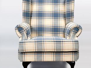 特价艾米尼奥家具地中海蓝色田园格子布艺单人位沙发老虎椅R006-1,沙发,