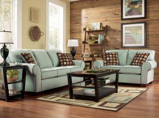 艾米尼奥宜家简约美式乡村蓝色布艺客厅组合多人沙发促销D162-2+3,沙发,