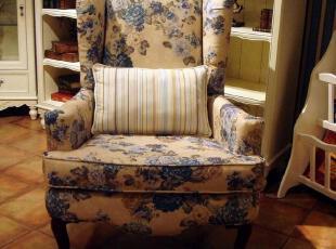 美式乡村老虎椅单人地中海布艺古典小户型沙发组合欧式双人田园,沙发,