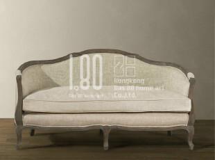 法式家具,复古实木双人沙发,出口家具,麻布面料沙发joanna,沙发,