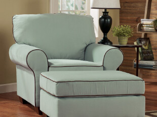 艾米尼奥家具美式地中海宜家简约蓝绿色客厅单人布艺沙发D162-1,沙发,