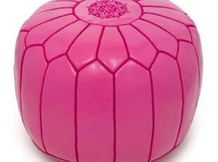 简单的奢华 现货上流最爱摩洛哥手工真皮刺绣沙发凳玫红,沙发,