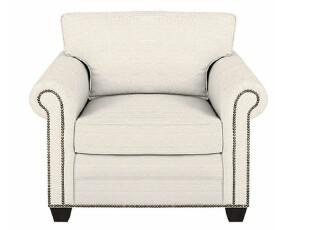 美式乡村 简约舒适沙发复古铆钉布艺沙发 棉麻材质布艺沙发单人位,沙发,