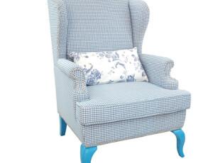 地中海风格休闲沙发 美式田园布艺单人脚踏沙发 布色可选 休闲椅,沙发,