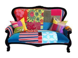法思思家居彩色拼贴混搭双人迷彩布艺沙发椅 波普欧式复古惊艳,沙发,