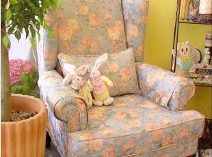 鱼西美屋高品质欧式花朵老虎椅单人布艺沙发B款【7.9折】秒杀包邮,沙发,