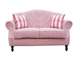 现货艾米尼奥欧式美式韩式田园红格子布艺双人沙发特价促销D015-2,沙发,