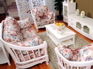 梦舍 韩式田园 橡胶木 板木结合 布艺组合沙发HX_SF301,沙发,