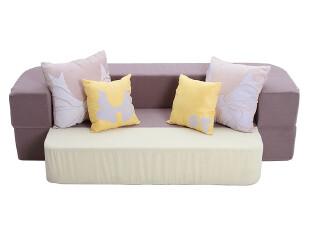 筑巢 布艺积木双人折叠懒人沙发床 可拆洗 三色,沙发,