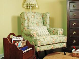 现货艾米尼奥家具欧式田园红绿色舒适高背老虎椅单人布艺沙发FQ20,沙发,