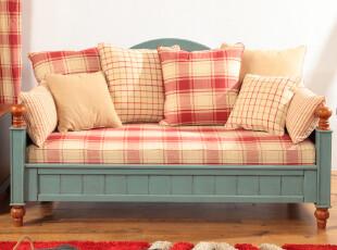 蓝调庄园风情三人沙发 客厅组合 定做地中海风格 比邻乡村家具,沙发,