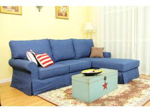 艾米尼奥地中海美式客厅组合多人L型转角布艺蓝色沙发A1-058-2+8,沙发,