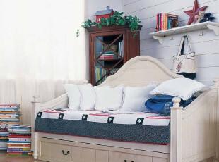 地中海风格家具 实木沙发床 白色 沙发 抽拉床,沙发,