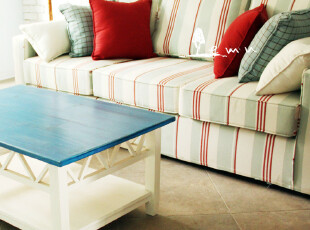 实物拍摄!地中海沙发 红白绿条布艺沙发 组合沙发 三人沙发01,沙发,