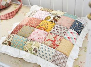 2012韩国代购创意拼布拼色纯棉格子花朵花边布艺礼品坐垫椅垫靠垫,沙发垫,