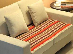 E家饰界紫彩条纯棉手工布艺沙发垫 坐垫 沙发靠背巾 全棉 飘窗垫,沙发垫,