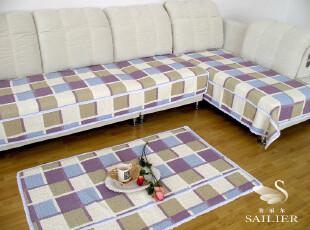 现代风格蓝色方块全棉绗缝加宽沙发垫 飘窗垫90宽(70-210),沙发垫,