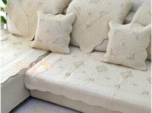 高档纯色精细纯棉布艺绣花沙发垫 坐垫 飘窗垫 抱枕套 外贸风火轮,沙发垫,